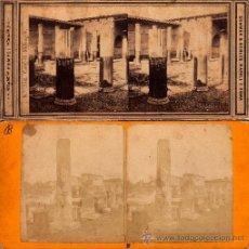 Fotografía antigua: 2 FOTOS ALBÚMINAS ESTEREOCOPICAS DE POMPEYA (ITALIA):CASA DI MELEAGRO. 18 X 8 CM.. Lote 40943600