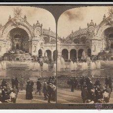 Old photograph - FOTO ESTEREOCOPICA DE PARIS (FRANCIA): FUENTE EN EL CHAMPS DE MARS.. EXPOSICIÓN 1900.18 x 8cm. - 41021952
