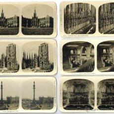 Fotografía antigua: COLECCION COMPLETA DE 12 FOTOGRAFIAS ESTEREOSCÓPICAS DE BARCELONA. A. MARTIN EDITOR. 17 X 9 CM.. Lote 41357443