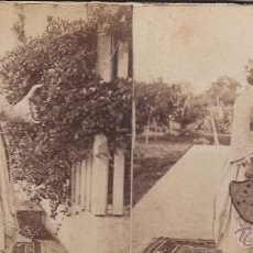Fotografía antigua: FOTO ESTEREOSCOPICA ALBUMINADA.RETRATO DE UNA MORISCA. 18 X 9 CM.. Lote 41473982