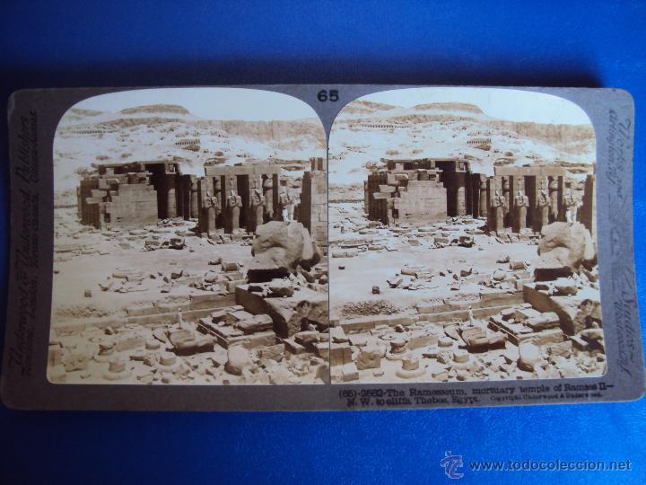 (ES-862)FOTOGRAFIA ESTEREOSCOPICA DE TEMPLO DE RAMASES IIEN TEBAS,EGIPTO (Fotografía Antigua - Estereoscópicas)