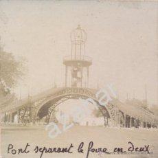 Fotografía antigua: SEVILLA, SIGLO XIX. LA PASADERA DE LA FERIA, IMPRESIONANTE. Lote 42552196