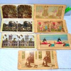 Fotografía antigua: LOTE 7 FOTOS ESTEREOSCOPICAS ORIGINALES, 1870-1905.ESCENAS COSTUMBRISTAS.CARTON 18X9 CM..BUEN ESTADO. Lote 42793382