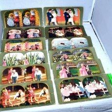Fotografía antigua: LOTE 12 FOTOS ESTEREOSCOPICAS ORIGINALES, SIGLO XIX...ESCENAS DE NIÑOS..CARTON 18X9 CM.. BUEN ESTADO. Lote 43348351