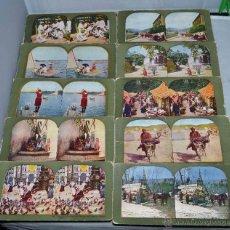 Fotografía antigua: LOTE 10 FOTOS ESTEREOSCOPICAS ORIGINALES, 1898...ESCENAS COSTUMBRISTAS..CARTON 18X9 CM..BUEN ESTADO. Lote 43426016