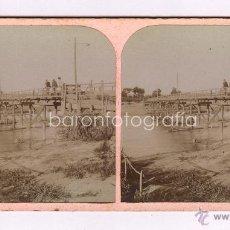 Fotografía antigua: SANT BOI DE LLOBREGAT. PUENTE SOBRE EL LLOBREGAT, 1890'S. ALBÚMINA SOBRE CARTÓN 8,5X18CM. MUY RARA.. Lote 44399086