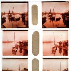 Fotografía antigua: PUERTO DE BARCELONA, 1920'S. LOTE DE 7 CRISTALES POSITIVOS ESTEREO 10,4X4,3 CM.. Lote 45135717