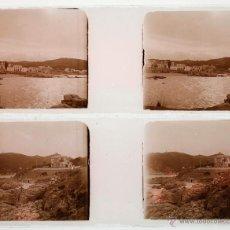 Fotografía antigua: CATALUÑA, PUEBLO COSTERO POR IDENTIFICAR, 1915'S. 2 CRISTALES POSITIVOS ESTEREO 10,4X4,3 CM.. Lote 45305588