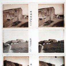Fotografía antigua: CIURANA, PROV. DE TARRAGONA, 1915'S. LOTE DE 7 CRISTALES POSITIVOS ESTEREO 10,4X4,3 CM.. Lote 45310417