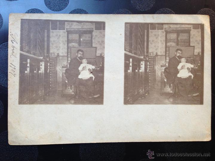 POSTAL. TOLEDO?. PADRE E HIJO. 1907 (Fotografía Antigua - Estereoscópicas)
