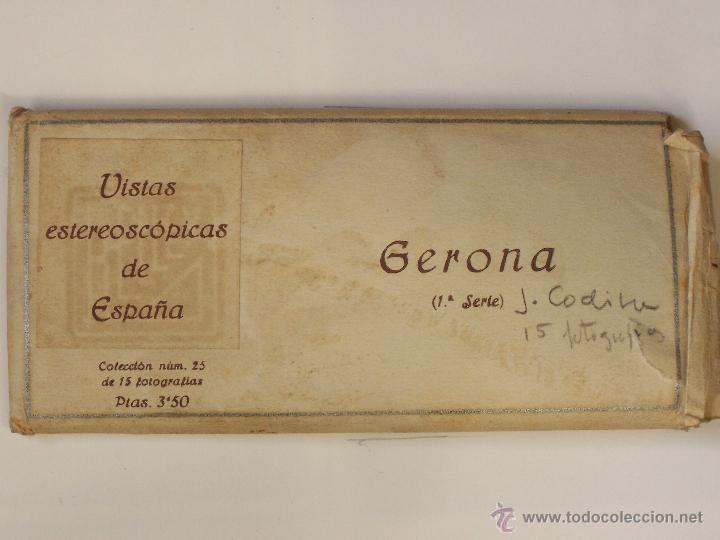 Fotografía antigua: Estuche 25con 15 vistas esteroscópicas Gerona. 1ª serie. J. Codina.. 1925 - Foto 2 - 47332474