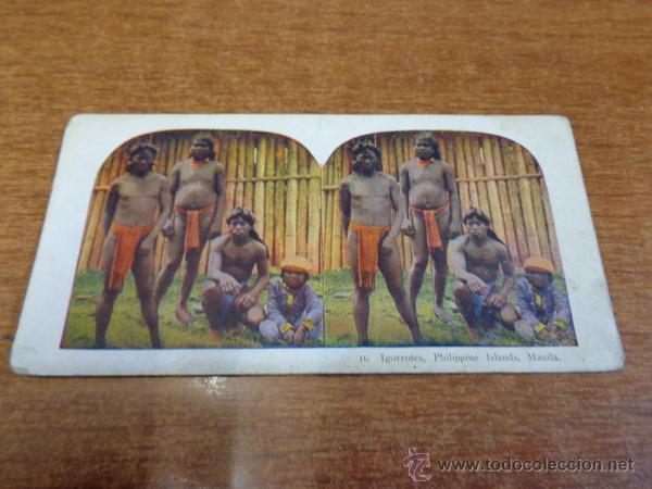 FOTOGRAFÍA ESTEREOSCÓPICA. 16. IGORROTES, PHILIPPINE ISLANDS, MANILA. PRINCIPIOS S. XX. FILIPINAS. (Fotografía Antigua - Estereoscópicas)