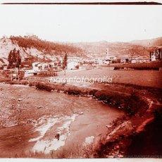 Fotografía antigua: PUEBLO POR IDENTIFICAR, 1915'S. CRISTAL POSITIVO ESTEREO 6X13 CM. FXP. Lote 48493574