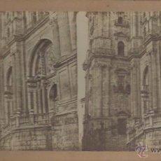 Fotografía antigua: VISTA ESTEROSCOPICA CATEDRAL DE MALAGA. Lote 48519706