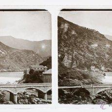 Old photograph - España, presa y paisaje por identificar, 1915'S, CRISTAL POSTIVO ESTEREO 6X13 CM FXP - 48644116