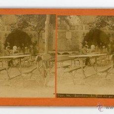 Fotografía antigua: FOTO ESTERESCOPICA LA FONT DEL GAT, BARCELONA. Lote 48828639