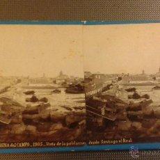 Fotografía antigua: ESTEREOSCOPICA ALBÚMINA MEDINA DEL CAMPO. 1905 VISTA DE LA POBLACIÓN. LAURENT. 17 X 8,50 CM. Lote 49224415