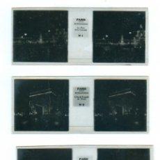 Fotografía antigua: PARIS LA NUIT 12 POSITIFS STEREOSCOPIQUES SUR FILM ESTEREOSCÓPICA FRANCIA FRANCE BRUGUIERE. Lote 49445766