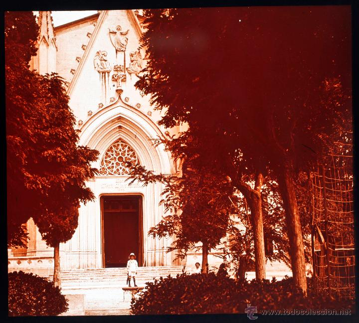 CANET DE MAR, 1910'S. IGLESIA DE LA MISERICORDIA, CRISTAL POSITIVO ESTEREO 6X13 CM. (Fotografía Antigua - Estereoscópicas)