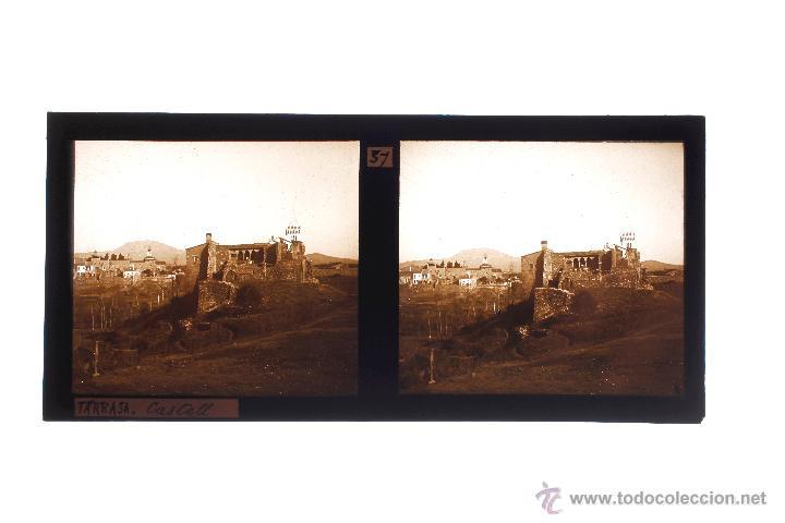 Fotografía antigua: TERRASSA, EL CASTILLO, 1910S. CRISTAL POSITIVO ESTEREO 6X13 CM. - Foto 2 - 49764594