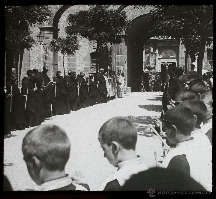 MONTSERRAT, EL ROSARI DE L'AURORA, 1910'S. CRISTAL POSITIVO ESTEREO 6X13 CM. (Fotografía Antigua - Estereoscópicas)