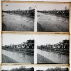 Fotografía antigua: SANT ADRIÀ DE BESÓS, 1910'S. 5 CRISTALES POSITIVOS ESTEREO 6X13 CM.. Lote 49891662