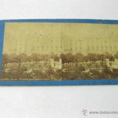 Fotografía antigua: FOTOGRAFIA ESTEREOSCOPICA DE LAURENT 34 BIS. EL PALACIO POR LA PLAZA DE ORIENTE. Lote 50002701