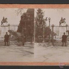 Fotografía antigua: MADRID - PLAZA DE ORIENTE - ALBÚMINA SOBRE CARTÓN - 17,6 X 8,6 CM - E1. Lote 50803039