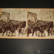 Fotografía antigua: TARRAGONA ENTIERRO DEL ARZOBISPO RARA VISTA ESTEREOSCOPICA SIGLO XIX MUY ANIMADA. ALBUMINA. Lote 51019820