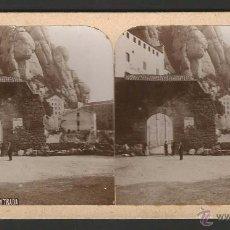 Fotografía antigua: MONTSERRAT - ENTRADA - ALBÚMINA SOBRE CARTÓN - 17,6 X 8,6 CM - E56. Lote 51072312