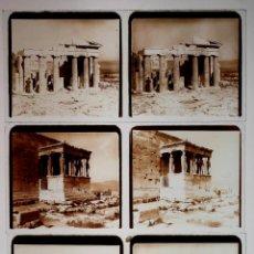 Fotografía antigua: ATENAS, RUINAS GRIEGAS, ACRÓPOLIS Y TEMPLO DE JÚPITER, 13 CRISTALES POSITIVOS ESTEREO 6X13 CM.. Lote 51151816