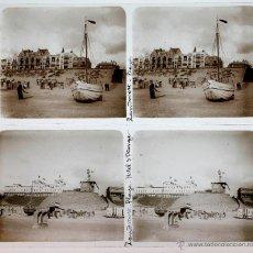 Fotografía antigua: HOLANDA, HOLLAND. 1915'S. ZANDVOORT, 2 CRISTALES POSITIVOS ESTEREO 6X13 CM.. Lote 51397733