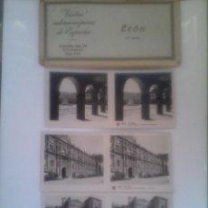 Fotografía antigua: LOTE DE 13 VISTAS ESTEREOSCOPICAS DE LEON. Lote 51556450