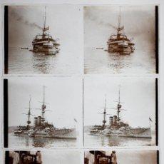 Fotografía antigua: 3 BARCOS DE GUERRA, PUERTO DE BARCELONA, 1910 APROX. 3 CRISTALES POSITIVOS ESTEREO 6X13 CM.. Lote 51862630