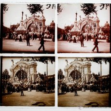 Fotografía antigua: BARCELONA, PL. CATALUÑA CON ARCO EFÍMERO. 1910-15 APROX. 2 CRISTALES POSITIVOS ESTEREO 6X13 CM.. Lote 51868332