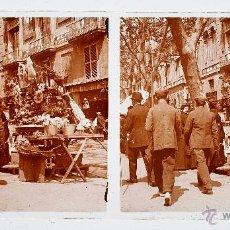 Fotografía antigua: BARCELONA, RAMBLA DE LAS FLORES, 1915'S. CRISTAL POSITIVO ESTEREO 6X13 CM.. Lote 51872989
