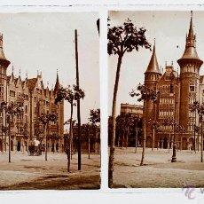 Fotografía antigua: BARCELONA, CASA DE LES PUNXES, 1915'S. CRISTAL POSITIVO ESTEREO 6X13 CM.. Lote 51873444