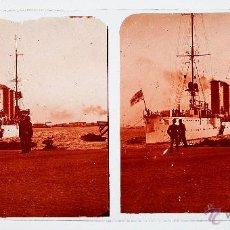 Fotografía antigua: BARCELONA, BARCO POR IDENTIFICAR, 1915'S. CRISTAL POSITIVO ESTEREO 6X13 CM.. Lote 51873804