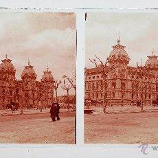 Fotografía antigua: BARCELONA, JUZGADOS DEL PASEO DE SAN JUAN, 1915'S. CRISTAL POSITIVO ESTEREO 6X13 CM.. Lote 51874962