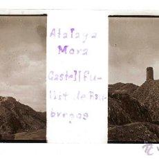 Fotografía antigua: CASTELLFOLLIT DE RIUBREGÓS, ANOIA. ATALAIA MORA, 1915'S. CRISTAL POSITIVO ESTEREO 6X13 CM.. Lote 51881176