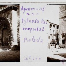 Fotografía antigua: AGRAMUNT, ESGLESIA PARROQUIAL, 1915'S. CRISTAL POSITIVO ESTEREO 10X4 CM.. Lote 176547498