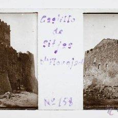 Fotografía antigua: CASTELL DE FLOREJACS, PROV. LLEIDA 1915'S. CRISTAL POSITIVO ESTEREO 10X4 CM.. Lote 51882642