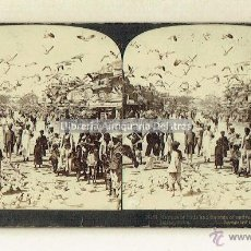Fotografía antigua: JAIPUR (INDIA). BANDADA DE PAJAROS ENTRE INDIOS NATIVOS. CALLE DE JAIPUR. 1901.. Lote 51971345