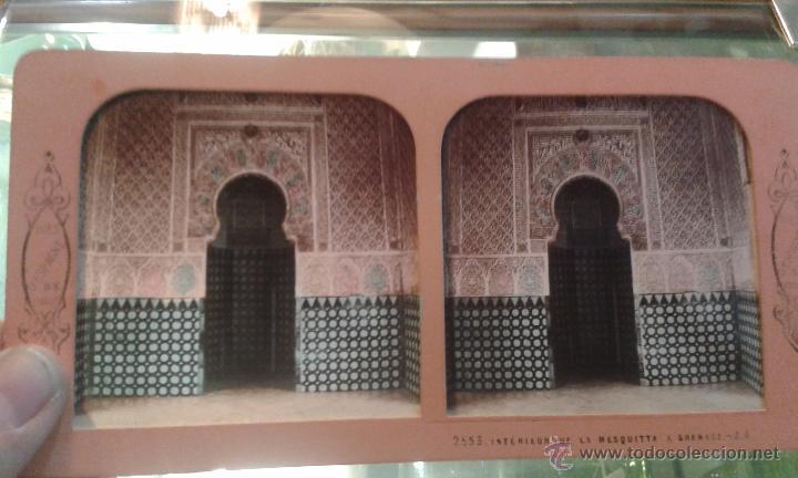 Fotografía antigua: Esteresocópica Tissue 2553 interior de la mezquita Granada Fotografo J. ANDRIEU Editor Adolphe Block - Foto 2 - 53746639