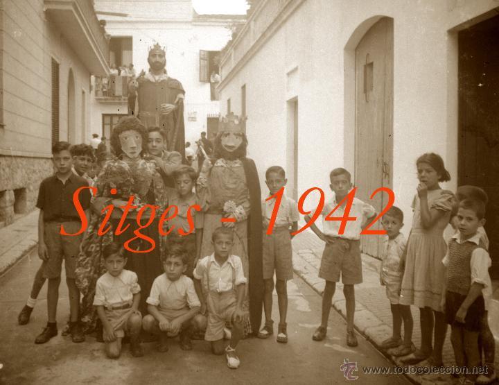 SITGES - GEGANTS - 1942 - FESTA MAJOR - 5 NEGATIUS DE CEL·LULOIDE (Fotografía Antigua - Estereoscópicas)