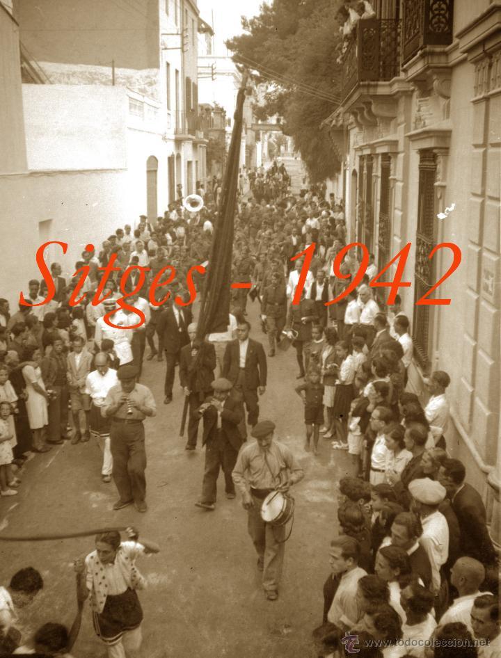 Fotografía antigua: SITGES - GEGANTS - 1942 - FESTA MAJOR - 5 NEGATIUS DE CEL·LULOIDE - Foto 5 - 53894469