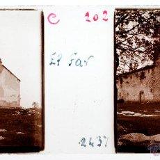 Fotografía antigua: SANTUARI DEL FAR, TAVERTET, 1915 APROX. CRISTAL POSITIVO ESTEREO 10X4CM. Lote 54652444
