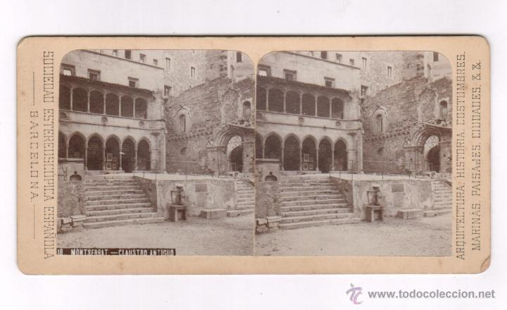 MONTSERRAT, 18. CLAUSTRO ANTIGUO. 9 X 17,5 CM. 1900'S. SOCIEDAD ESTEREO ESPAÑOLA (Fotografía Antigua - Estereoscópicas)