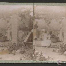 Fotografía antigua: PIERA -LAVANDERAS - FOTO ESTEREOSCOPICA - MIDE 8,5 X 17,5 CM - (V-4746). Lote 55080433