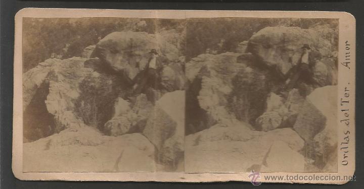 AMER - ORILLAS DEL TER - FOTO ESTEREOSCOPICA - MIDE 8,5 X 17,5 CM - (V-4749) (Fotografía Antigua - Estereoscópicas)